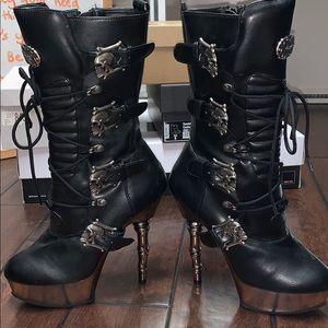 Demonia Tall skull heels